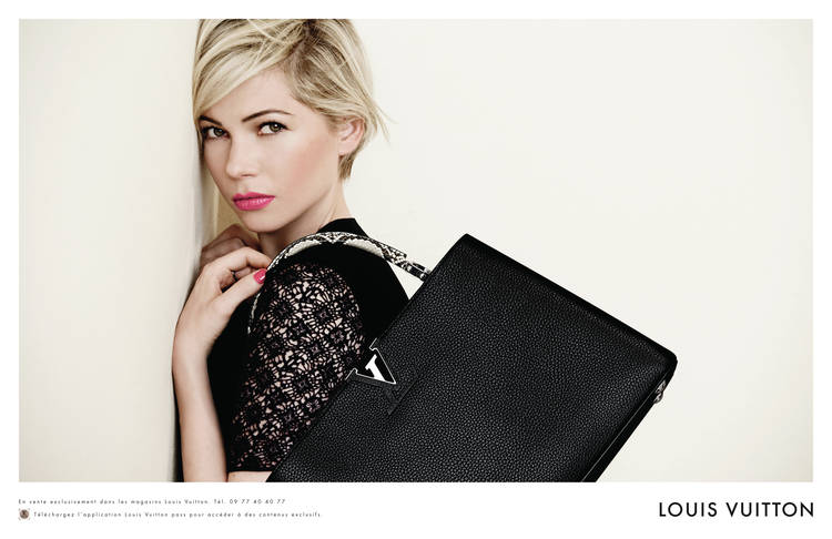 michelle williams confirme son statut d 39 ambassadrice vuitton pub 2014. Black Bedroom Furniture Sets. Home Design Ideas