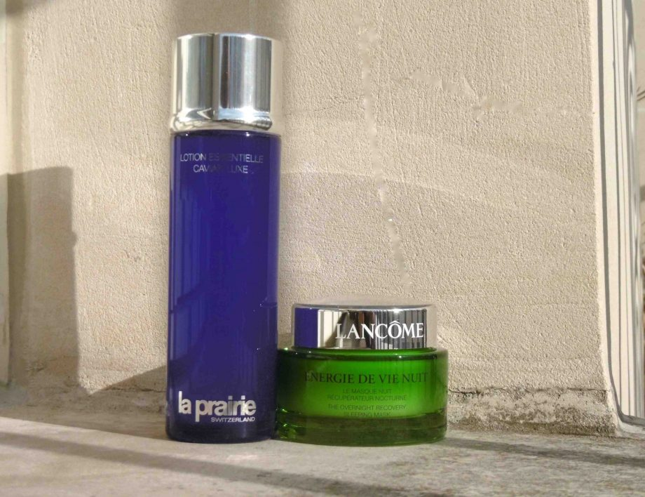 Texture Asie : cosmetic water La Prairie, masque quickbreak Lancôme anti-fatigue